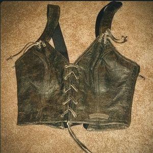 Harley Davidson Women's Leather Distressed Vest-S6